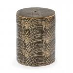 Hocker 33X33X45 Keramik Golden/Schwarz