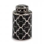 Vaso Contenitore 18X18X30 Ceramica Nero Argento