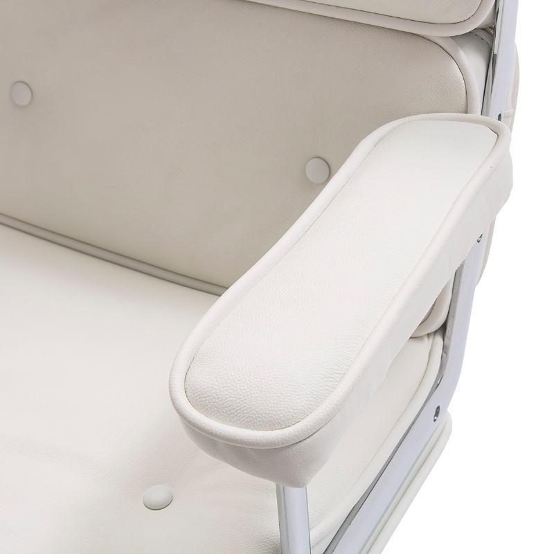 Chaise de Bureau réglable en hauteur 64x60x93 99 cm Métal Cuir Blanc - image 52181