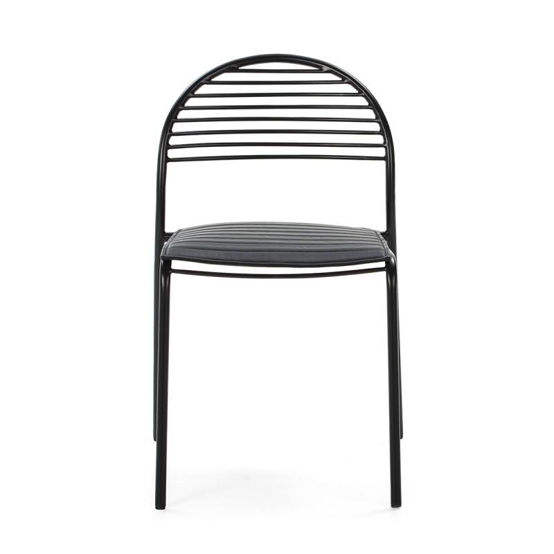 Chaise 47x55x81 Métal Noir Cuir synthétique Noir - image 52187