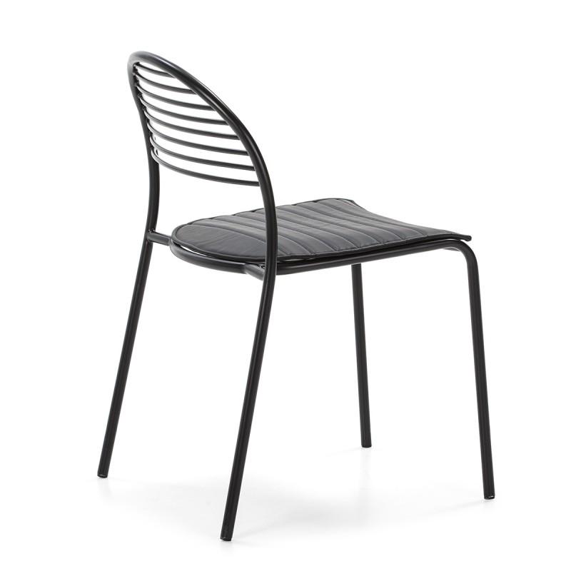 Chaise 47x55x81 Métal Noir Cuir synthétique Noir - image 52188