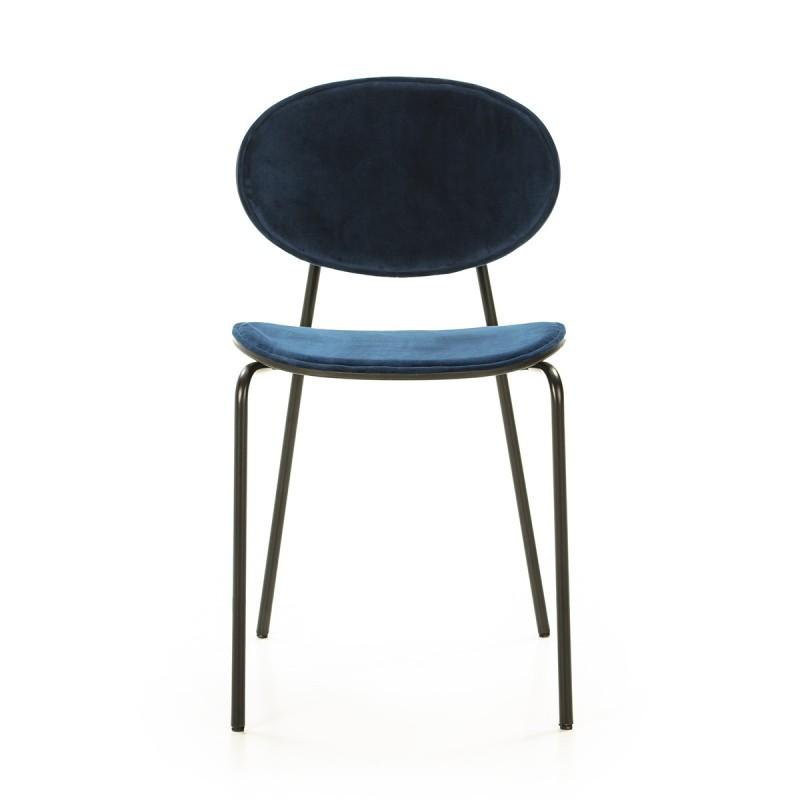 Chaise 42x51x78 cm Métal Noir ABS Noir Velours Bleu - image 52232