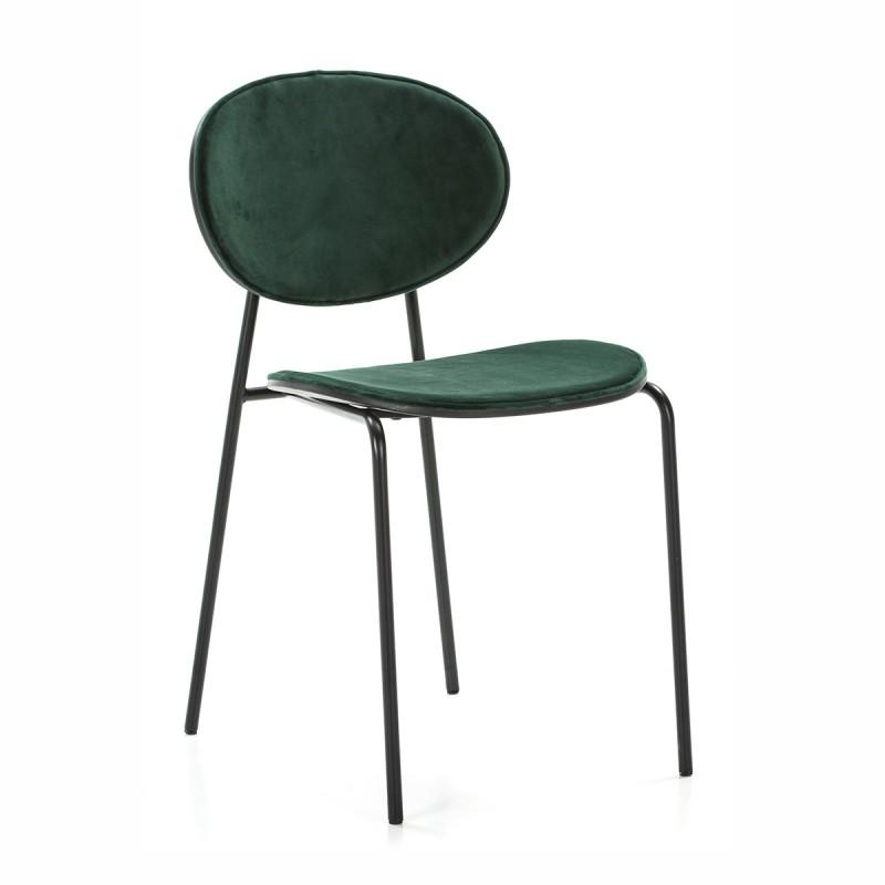 Chaise 42x51x78 cm Métal Noir ABS Noir Velours Vert
