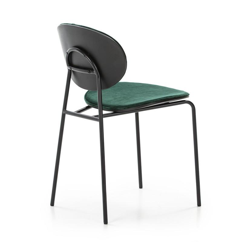 Chaise 42x51x78 cm Métal Noir ABS Noir Velours Vert - image 52237