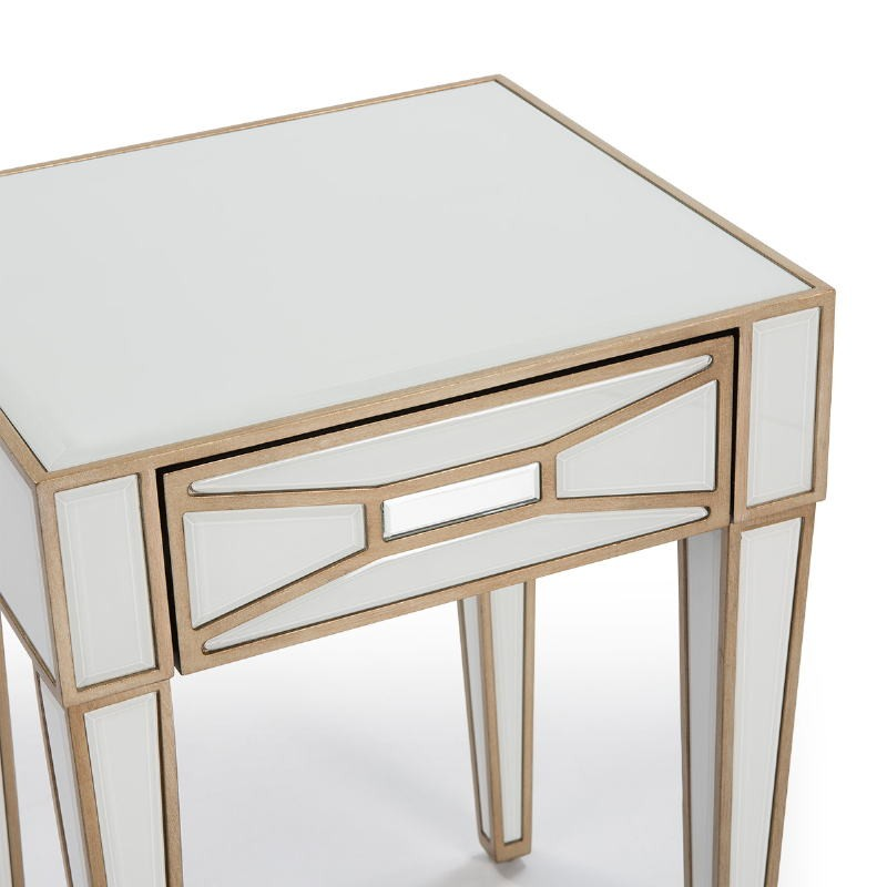 Bedside Table 45X40X60 Mirror Glass White Mdf Golden - image 52249