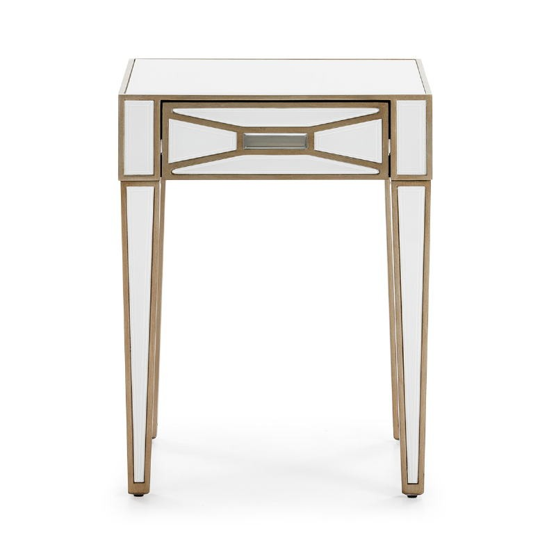 Bedside Table 45X40X60 Mirror Glass White Mdf Golden - image 52251
