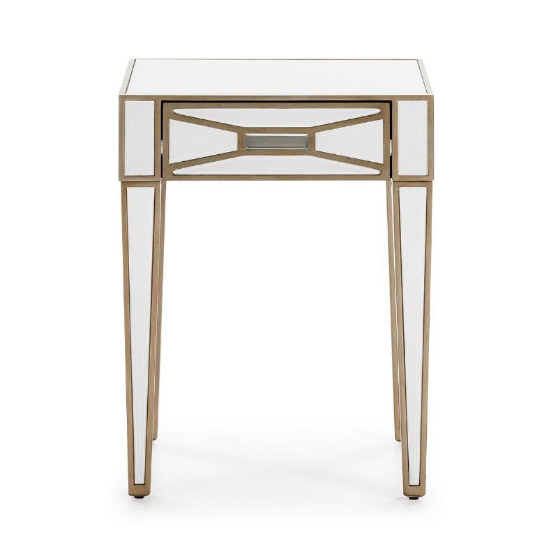 Table de chevet 45x40x60 cm Miroir Verre Blanc MDF Doré - image 52251