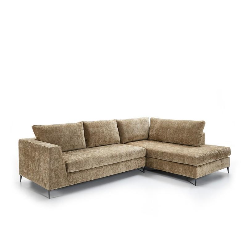 Canapé d'angle 3 places 300x210x90 cm tissu Brun - image 52258