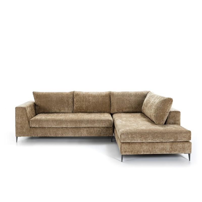 Canapé d'angle 3 places 300x210x90 cm tissu Brun - image 52259