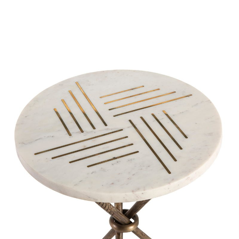 Side Table 40X40X58 Metal Golden Marble White - image 52265