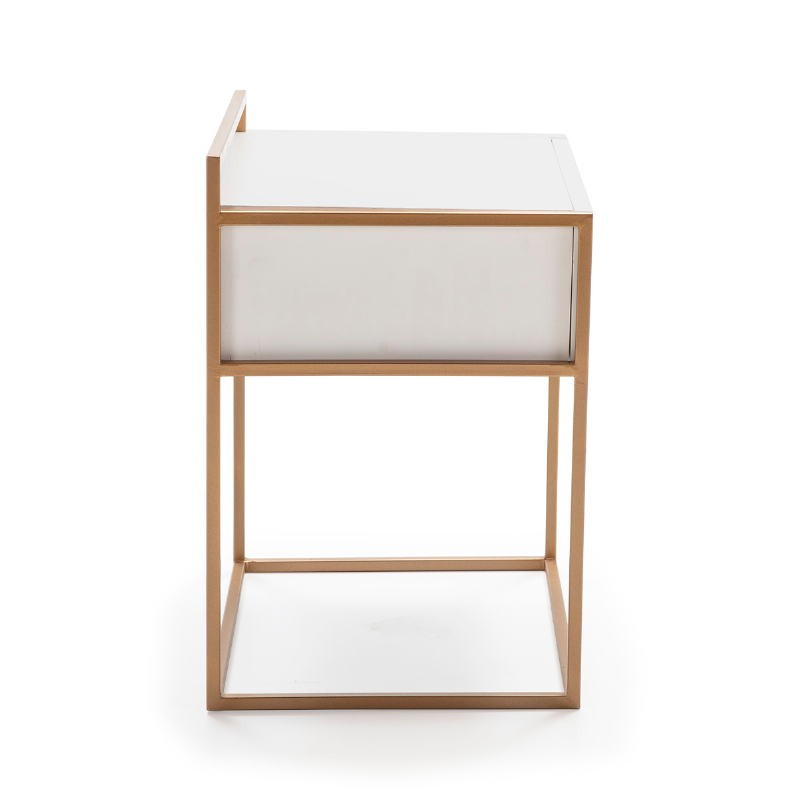 Bedside Table 50X40X60 Wood White Metal Golden - image 52286