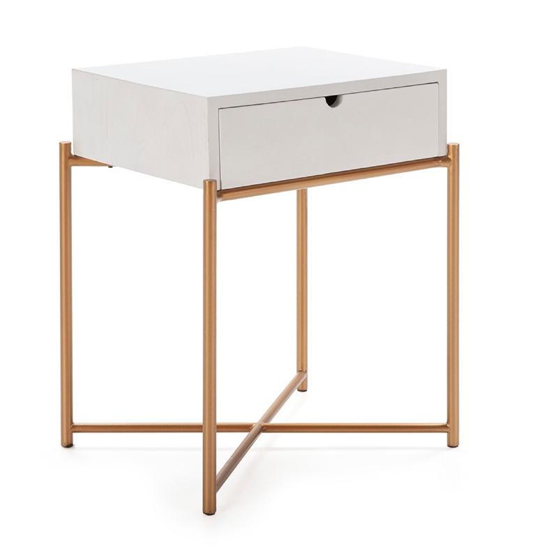 Table de chevet 50x40x62 Bois Blanc Métal Doré