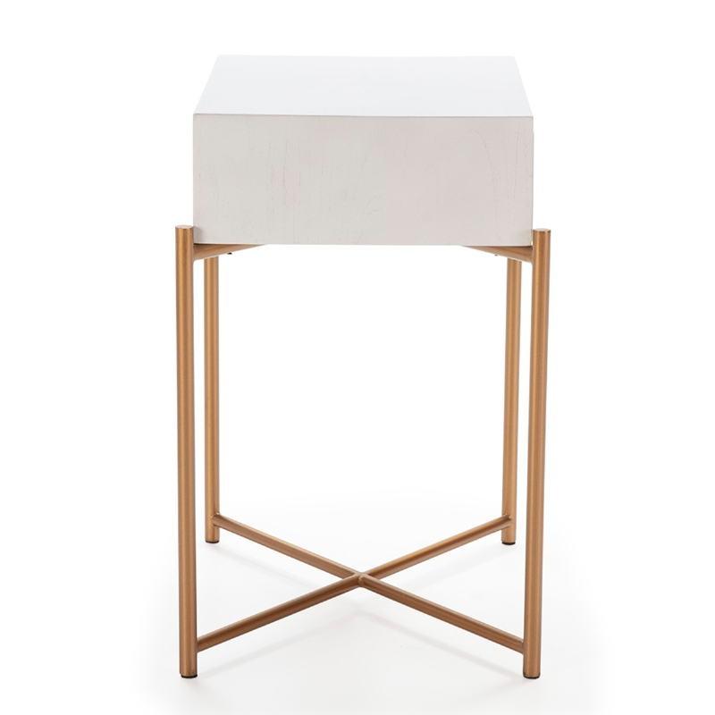 Table de chevet 50x40x62 Bois Blanc Métal Doré - image 52290