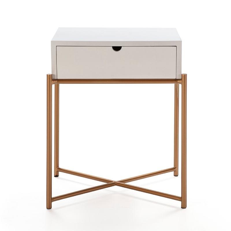 Table de chevet 50x40x62 Bois Blanc Métal Doré - image 52292
