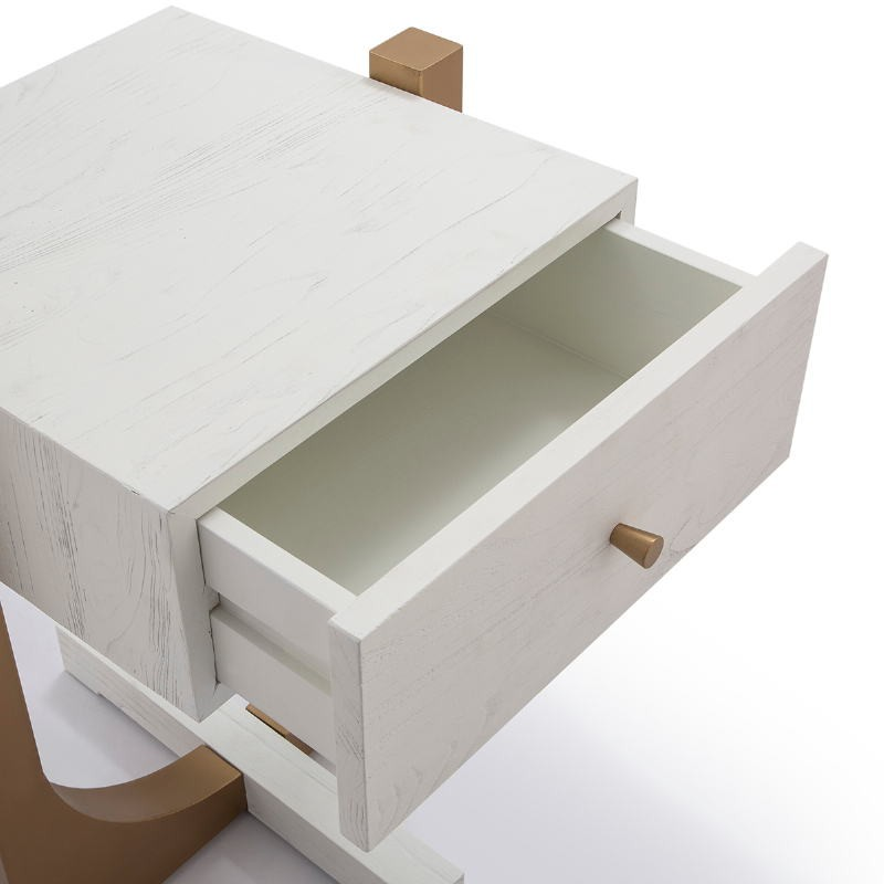 Bedside Table 51X45X61 Wood White Metal Golden - image 52294