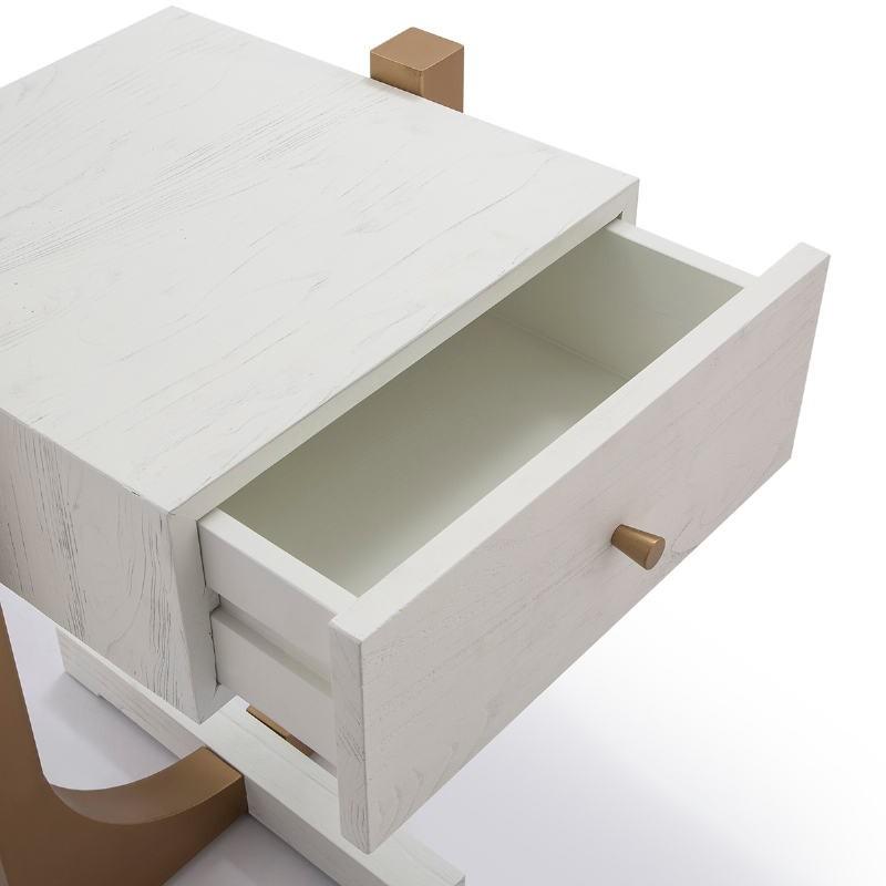 Comodino 51X45X61 Legno Bianco Metallo Dorato - image 52294