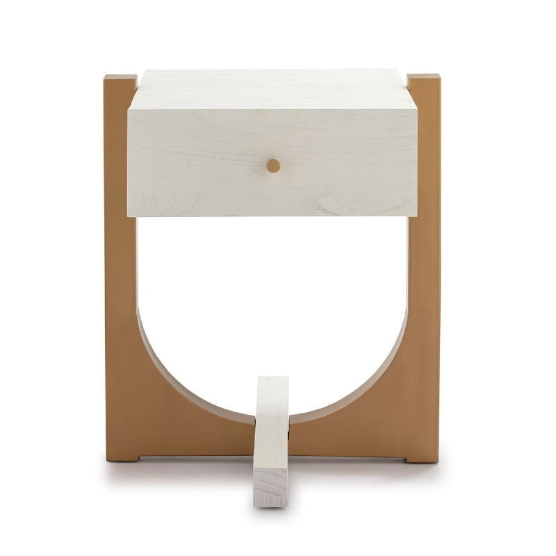 Bedside Table 51X45X61 Wood White Metal Golden - image 52296