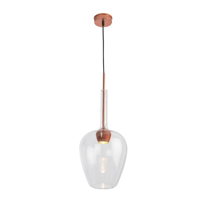 Lampada A Sospensione 25X25X66 Alluminio Colore Rame Vetro Trasparente - image 52305