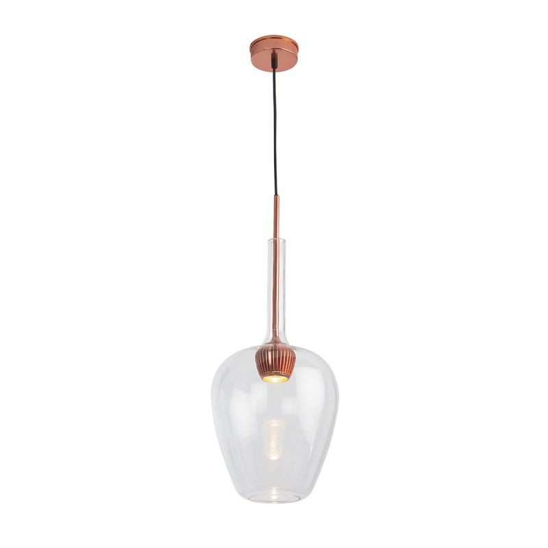 Lampe suspendue 25x25x66 Aluminium Couleur Cuivre Verre Transparent