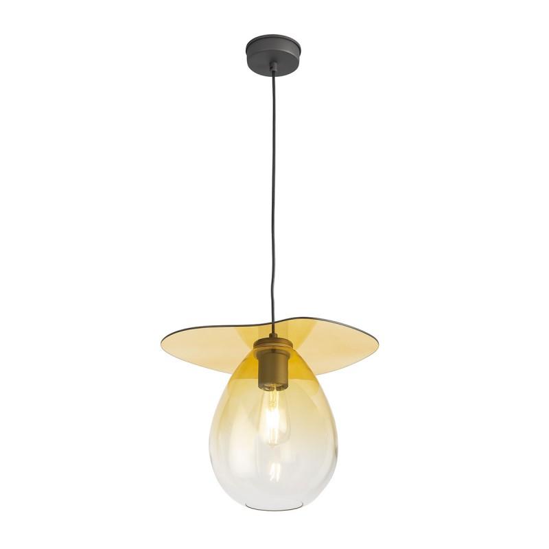 Lampe suspendue 34x33x31 Métal Noir Verre Ambre - image 52306