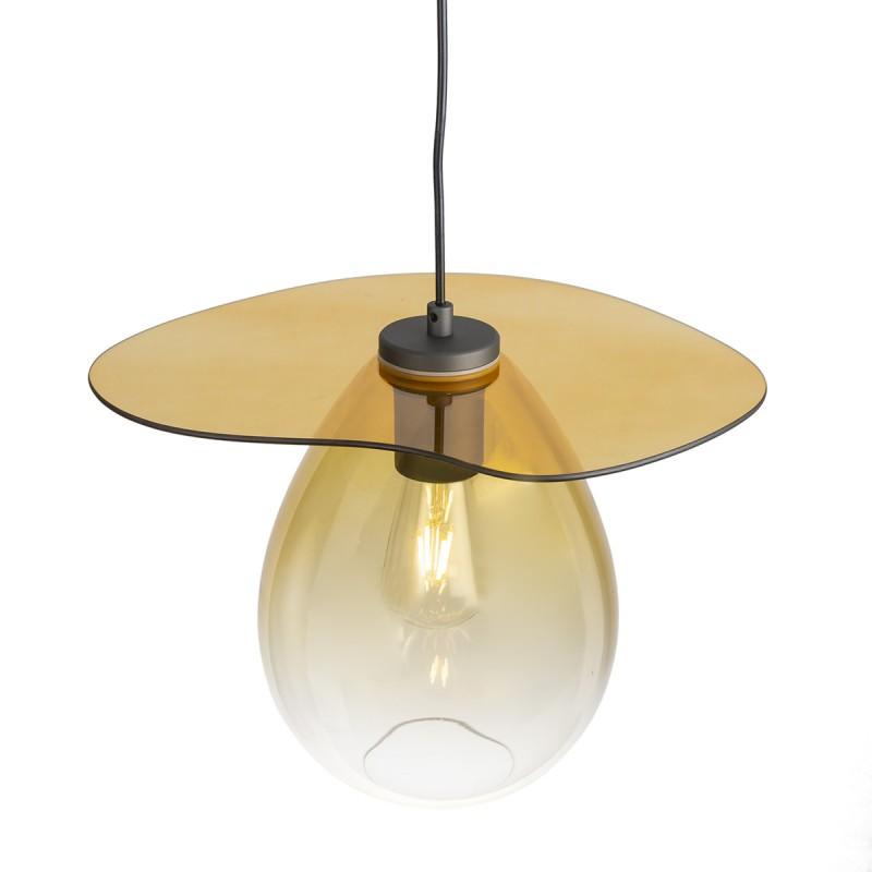 Lampada A Sospensione 34X33X31 Metallo Nero Vetro Ambra - image 52307