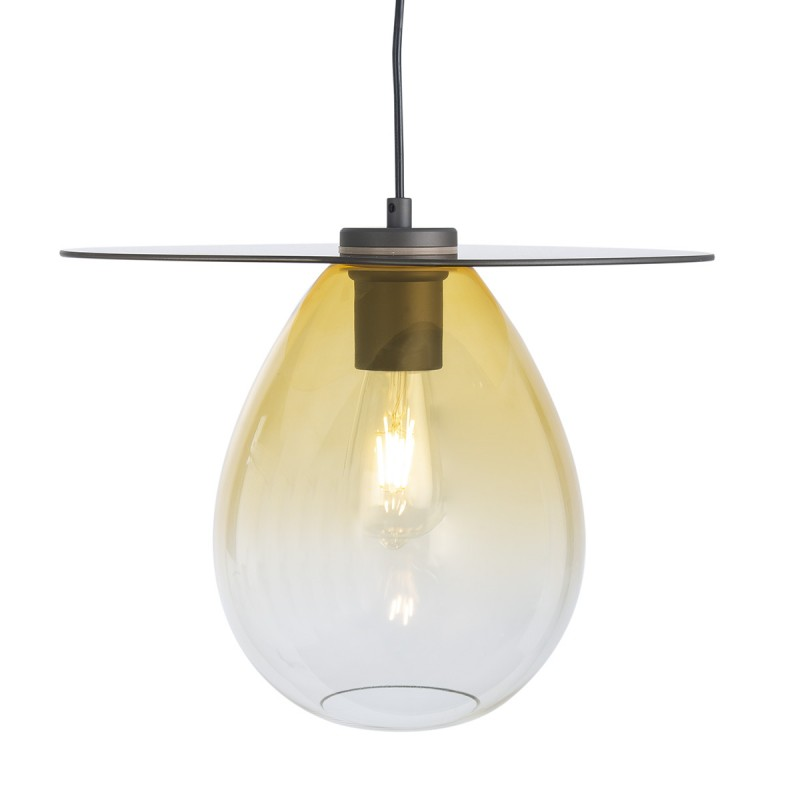 Lampada A Sospensione 34X33X31 Metallo Nero Vetro Ambra - image 52308