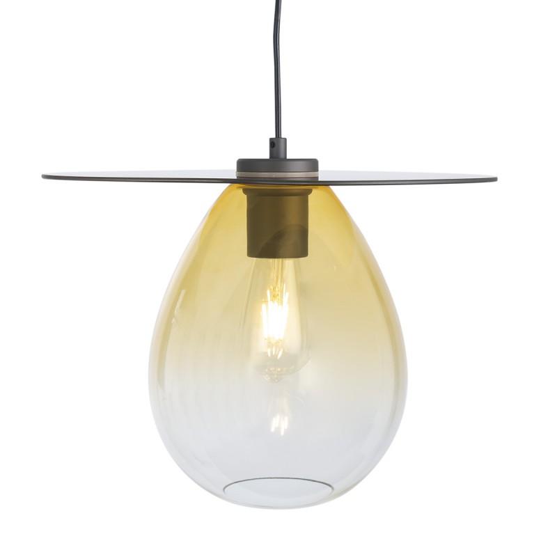 Lampe suspendue 34x33x31 Métal Noir Verre Ambre - image 52308