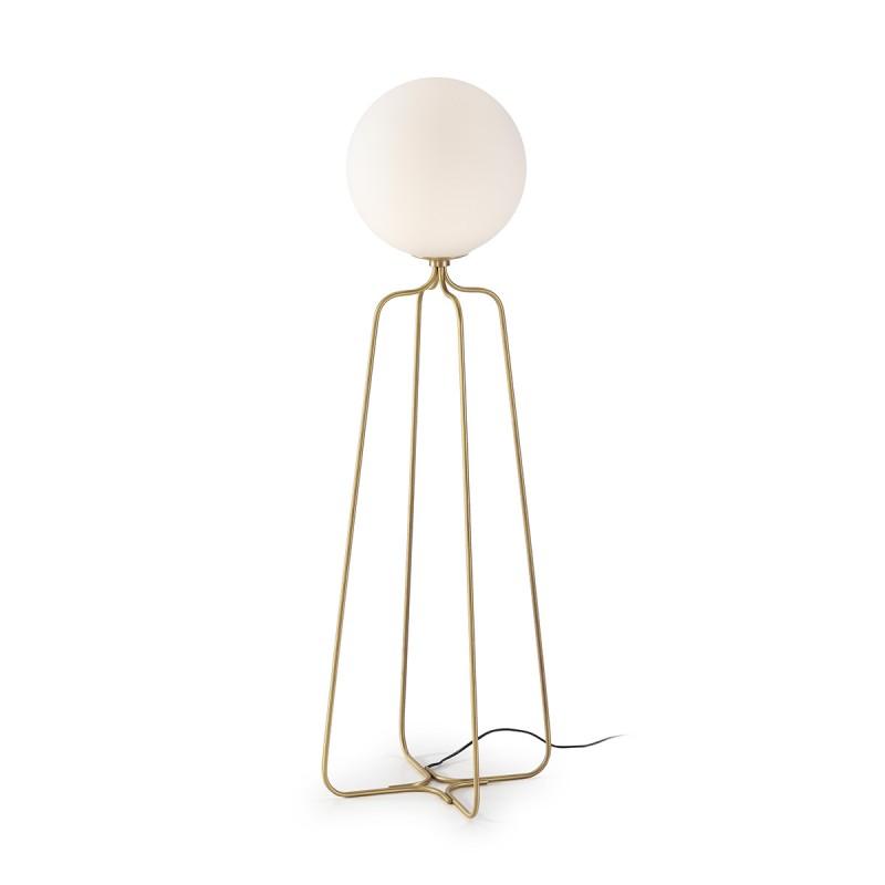 Lámpara De Pié 51X37X170 Metal Dorado Cristal Blanco