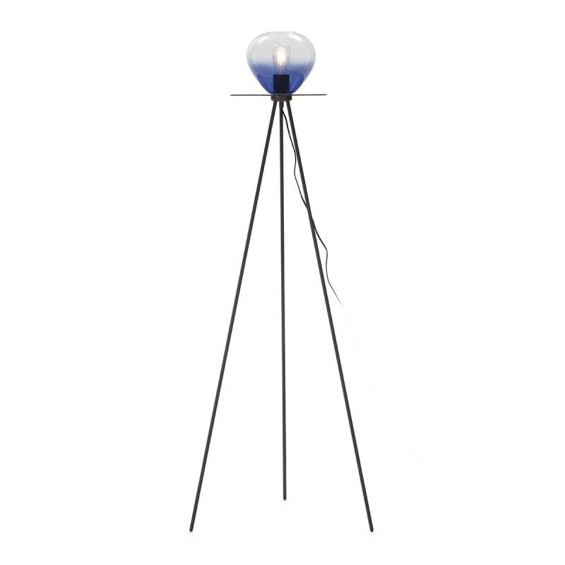 Lámpara De Pié 60X60X160 Metal Negro Cristal Azul
