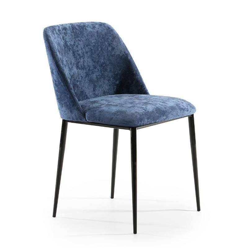 Chaise 56x52x77 Métal Noir tissu Bleu