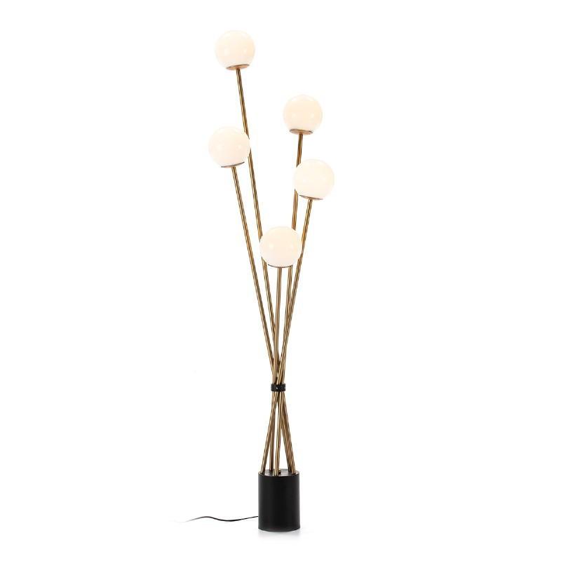 Stehlampe 50X50X178 Glas Weiß/Metall Golden/Schwarz