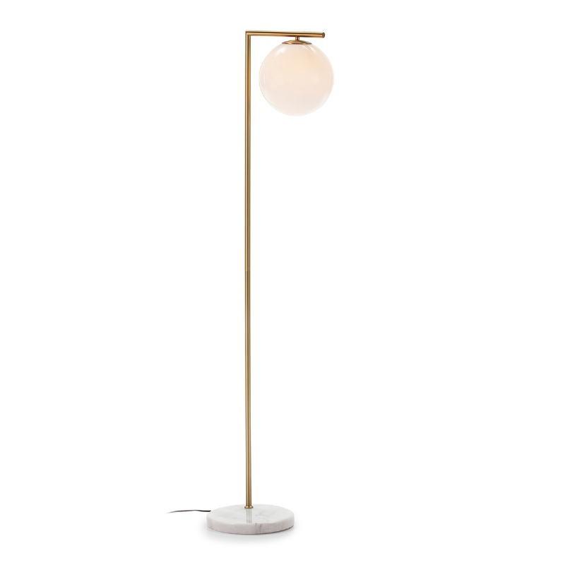 Lámpara De Pié 32X28X163 Cristal Blanco Mármol Blanco Metal Dorado