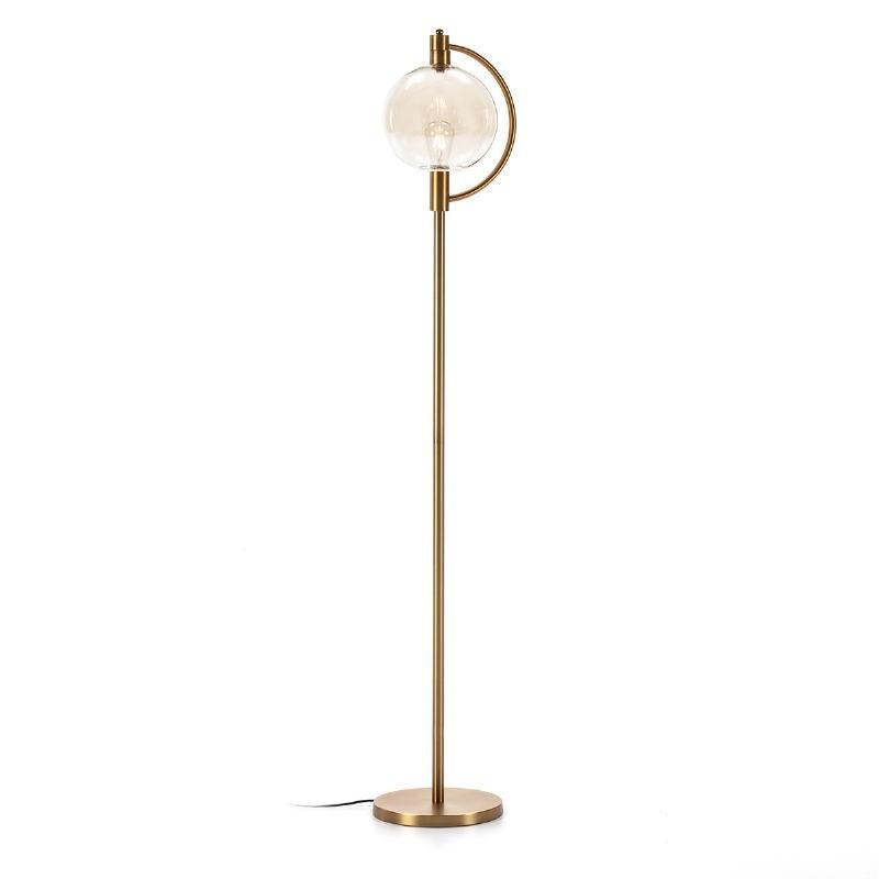 Lámpara De Pié 30X28X160 Cristal Ámbar Metal Dorado - image 52385