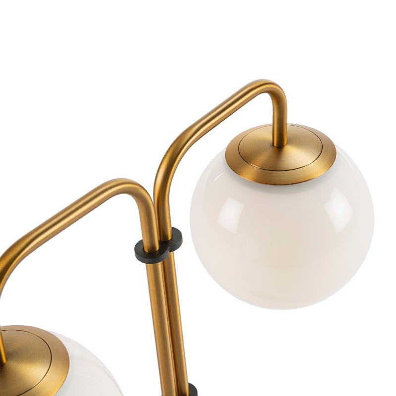 Lámpara De Pié 64X20X161 Cristal Blanco Mármol Blanco Metal Dorado - image 52389
