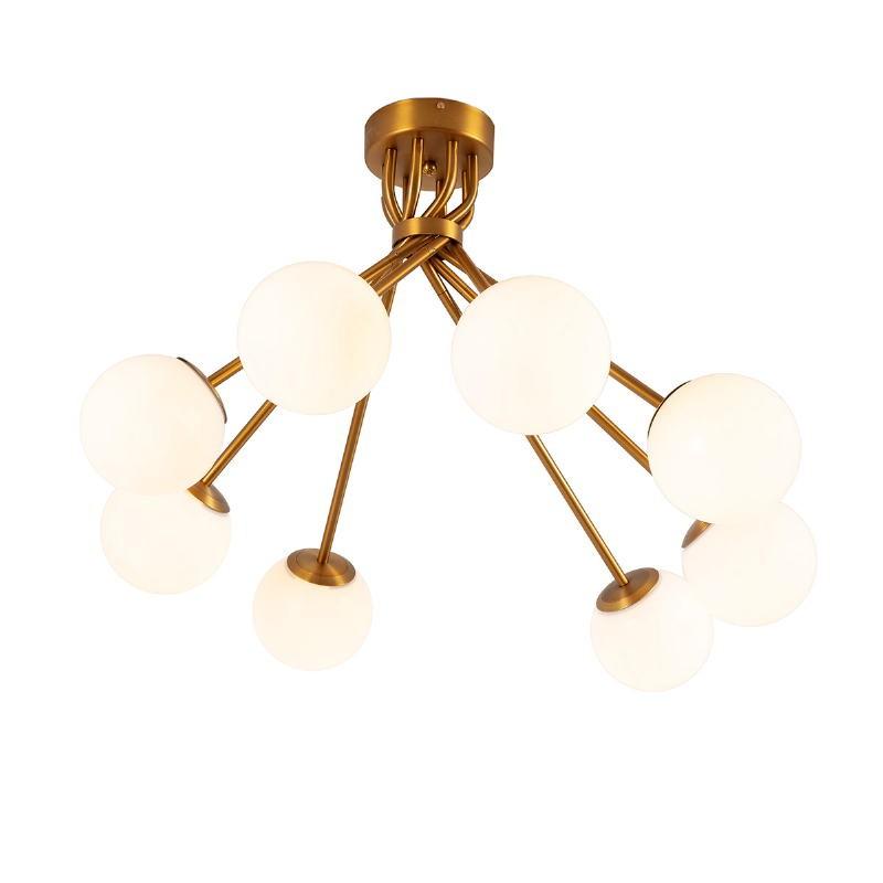 Lampe suspendue 100x100x58 Verre Blanc Métal Doré - image 52397