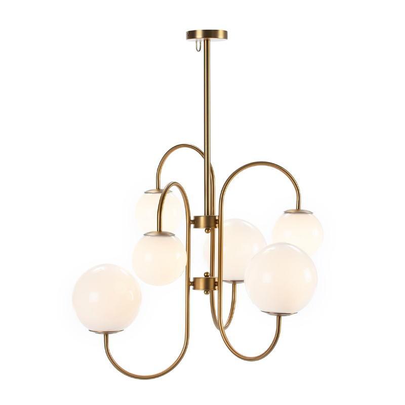 Lampe suspendue 78x78x100 Verre Blanc Métal Doré - image 52398