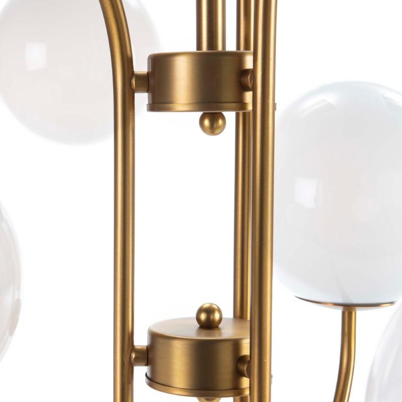 Lampada A Sospensione 78X78X100 Vetro Bianco Metallo Dorato - image 52399