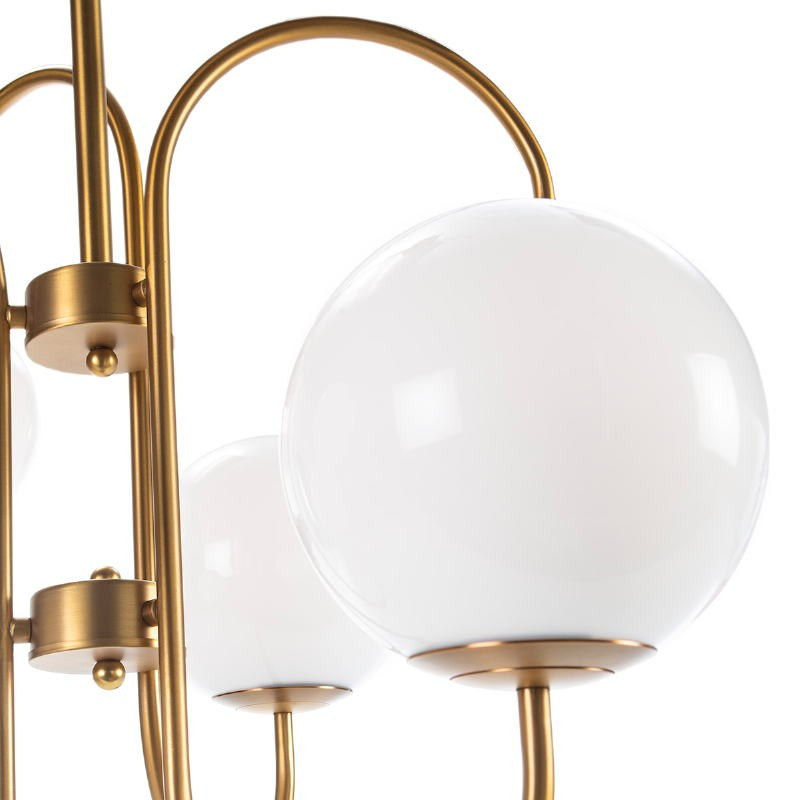 Hanging Lamp 78X78X100 Glass White Metal Golden - image 52400
