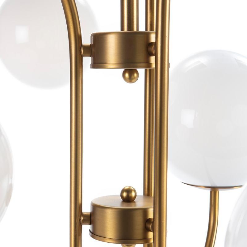 Lampada A Sospensione 78X78X100 Vetro Bianco Metallo Dorato - image 52401