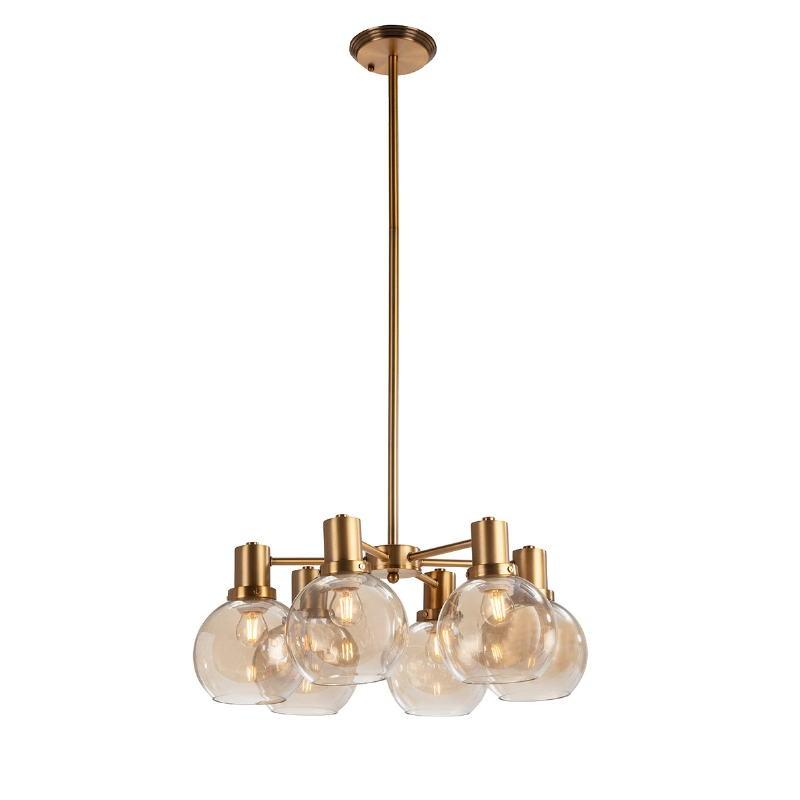 Lampe suspendue 46x46x112 Verre Ambre Métal Doré