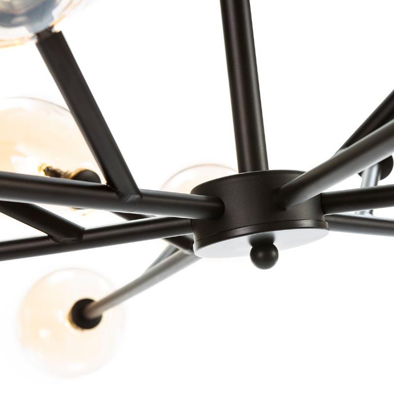 Hanging Lamp 130X130X74 Glass Amber Metal Black - image 52410