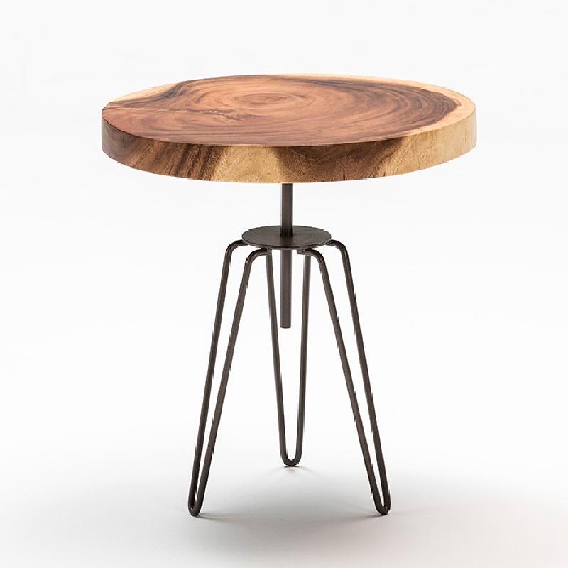 Table d'appoint, bout de canapé, bout de canapé 48x53 aprox. Métal Bois Naturel - image 52422