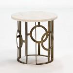 Table d'appoint, bout de canapé 50x50 Métal Bronze Marbre Blanc