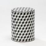 Hocker 33X33X43 Keramik Weiß/Schwarz/Grau