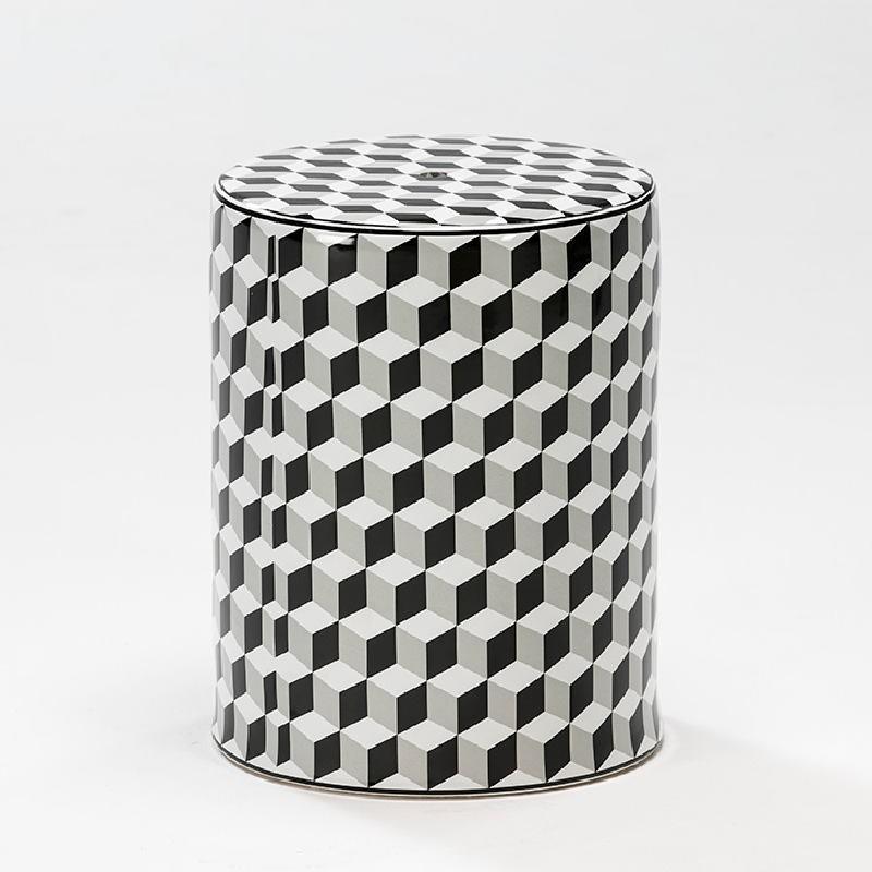 Sgabello 33X43 Ceramica Bianco Nero Grigio - image 52501