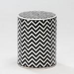 Hocker 33X33X43 Keramik Weiß/Schwarz