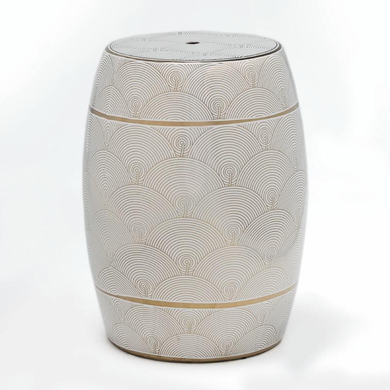 Stool 32X43 Ceramic White Golden - image 52506
