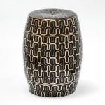 Hocker 32X32X43 Keramik Schwarz/Golden