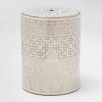 Sgabello 33X43 Ceramica Bianco Dorato Modello 2