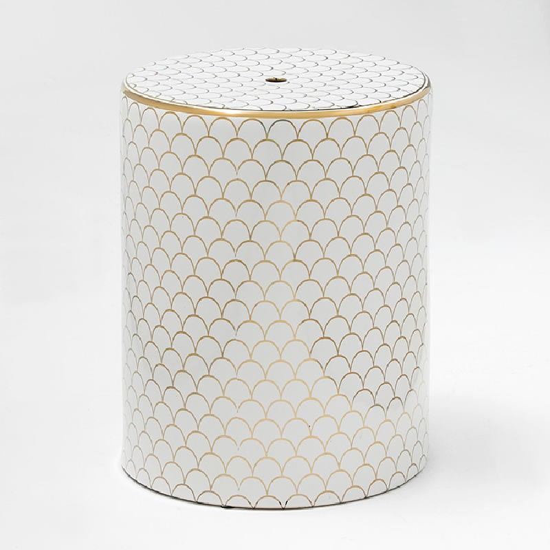 Stool 33X43 Ceramic White Golden Model 3